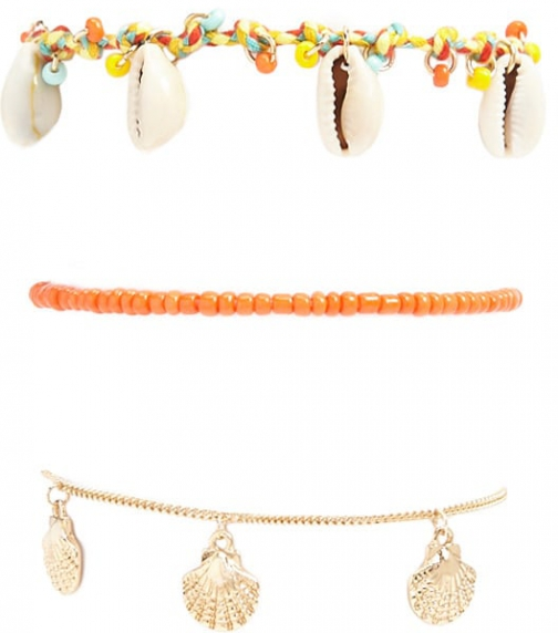 Forever21 Forever 21 Seashell Charm Set , Orange/multi Bracelet