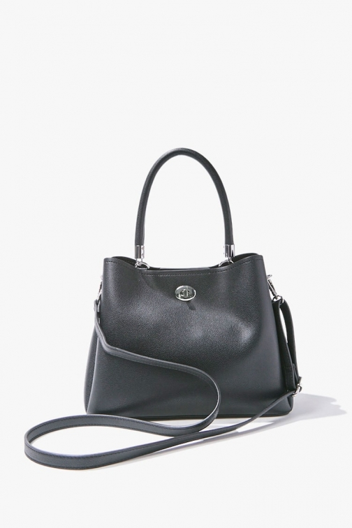 Forever21 Forever 21 Faux Pebble Leather , Black Satchel