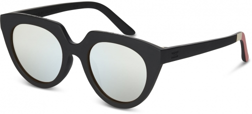 Toms Traveler By TOMS Lourdes Matte Black With Mother Of Pearl Mirror Lens Sunglasses