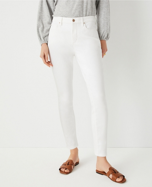 Ann Taylor Sculpting Pocket Mid Rise White Skinny Jeans