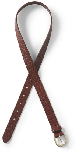 Lands' End Women's Crocodile Embossed Classic Leather - Lands' End - Brown - XS Belt