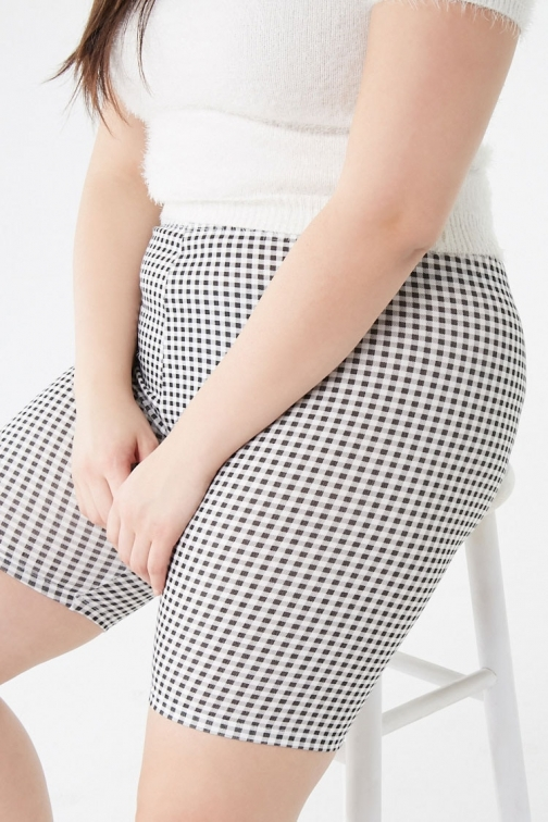 Forever21 Plus Forever 21 Plus Size Gingham Biker , Black/white Short