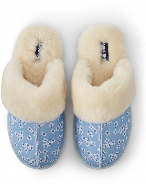 Lands' End Draper James X Lands' End Women's Chambray Shearling Fur Scuff - Blue - 6 Slippers
