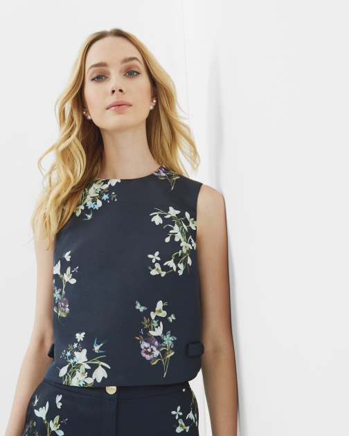 Ted Baker Entangled Enchantment Bow Cropped Top Shirt