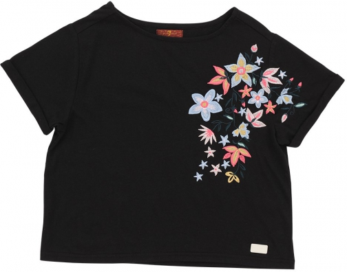 7 For All Mankind Women's Girl's S-XL Cropped Tee Black T-Shirt