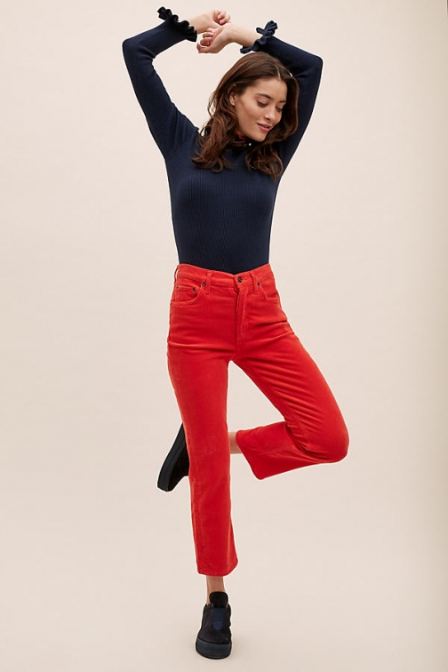 Anthropologie Agolde Riley High-Rise Straight-Leg Jeans - Red, Size Straight Leg Jeans