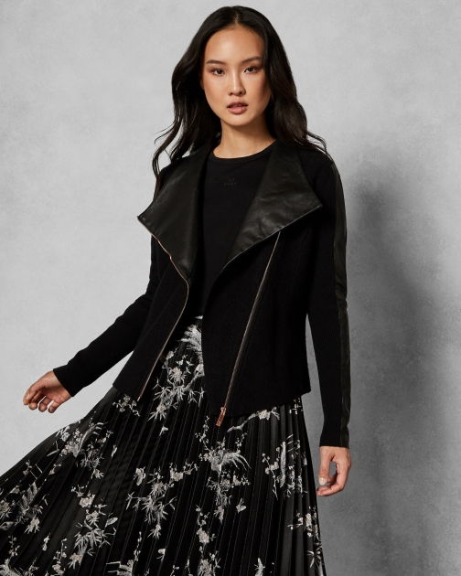 Ted Baker Leather Detail Boiled Wool Jacket