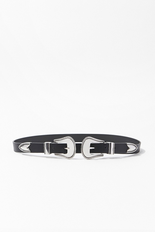 Forever21 Forever 21 Embossed Double-Buckle , Black/silver Belt