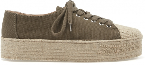 Schutz Shoes Ully Sneaker - 5 Aspen Green Canvas Fabric Shoes