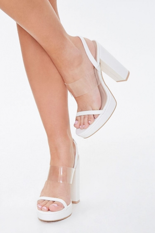 Forever21 Forever 21 Transparent Strappy Block Heels , White Shoes