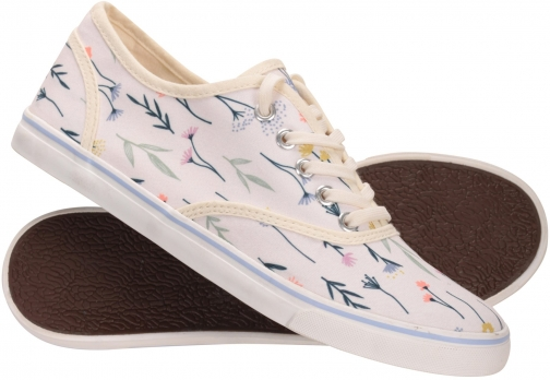 Mountain Warehouse Printed Canvas Womens Plimsolls - Beige Shoes