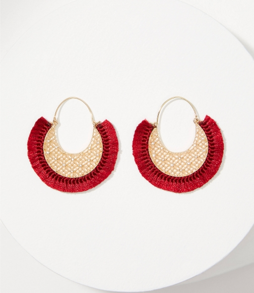 Loft Filigree Fabric Wrapped Hoop Earring
