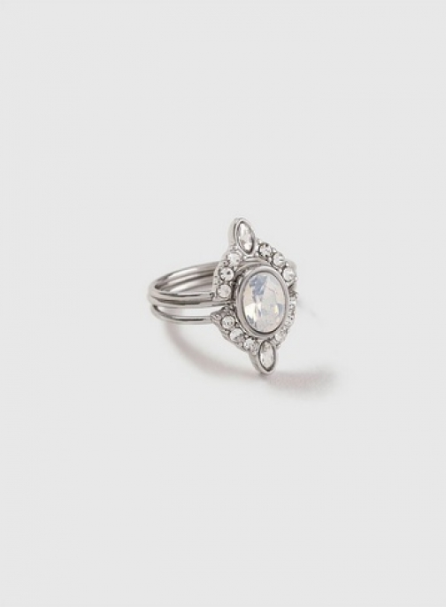 Dorothy Perkins Womens Silver Look Faux Opal Stack - Silver, Silver Ring