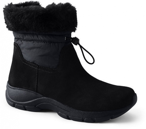 Lands' End Women's All Weather Insulated Cuffed Winter - Lands' End - Black - 6 Snow Boot
