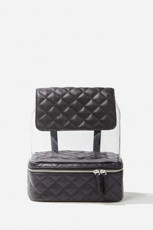 Forever21 Forever 21 Translucent Quilted , Black Backpack