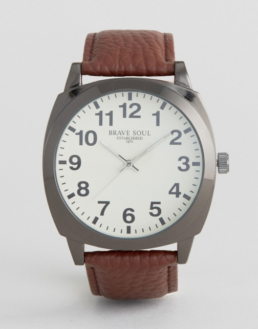 Brave Soul Brown With White Full Figured Dial Watch