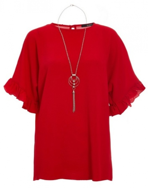 Quiz Red Frill Sleeve Top Necklace