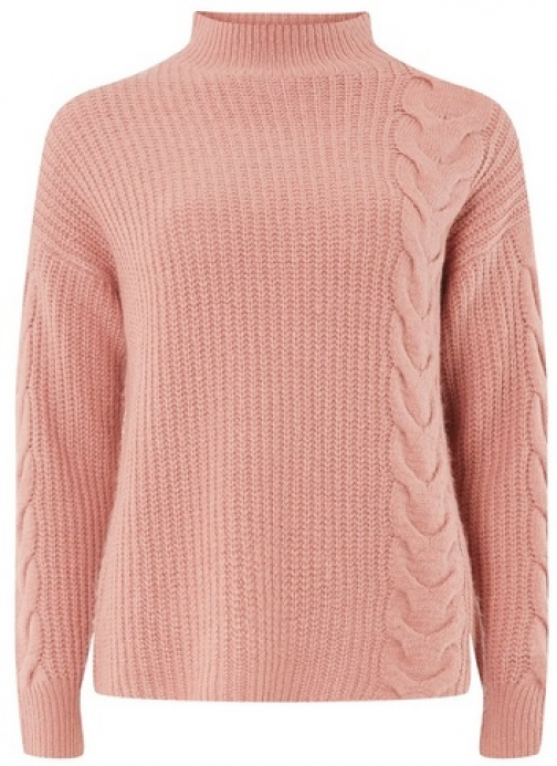 Dorothy Perkins Womens Pink High Neck Cable - Pink, Pink Jumper