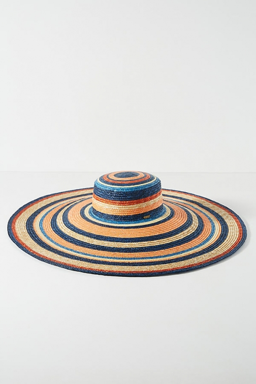 Anthropologie Kim Striped-Straw Boater Hat