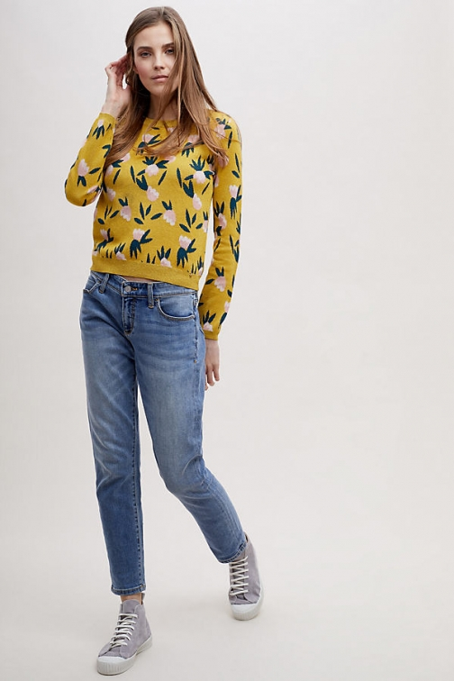 Anthropologie Emeliana Floral - Yellow, Size Uk Jumper