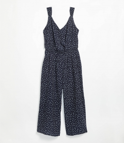 Loft Plus Polka Dot Smocked Jumpsuit