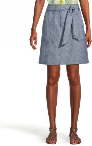 Ann Taylor Factory Petite Chambray Belted Pocket Skirt