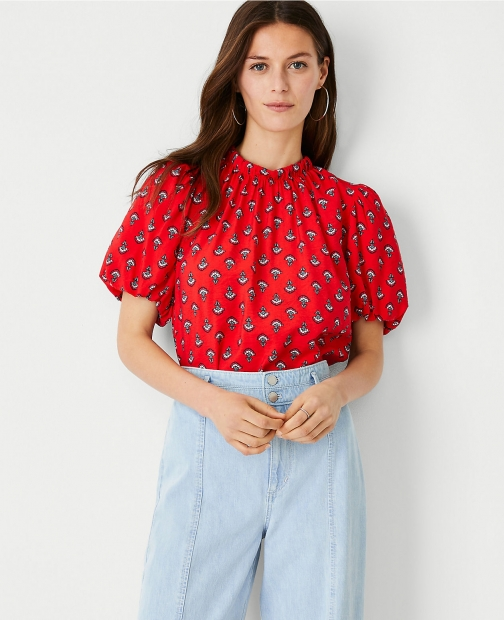 Ann Taylor Petite Floral Tie Back Puff Sleeve Top