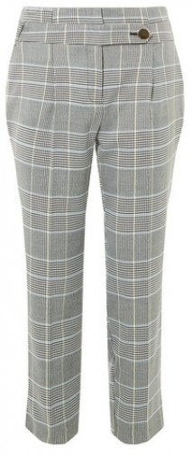 Dorothy Perkins Petite Yellow Check High Waist Trousers Trouser