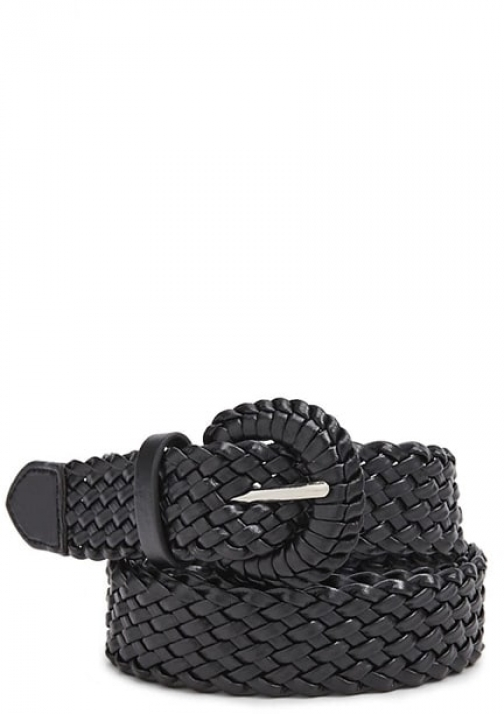 Forever21 Forever 21 Faux Leather Woven Hip , Black Belt