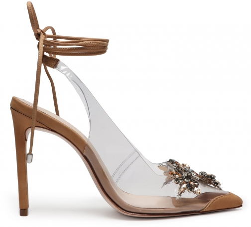 Schutz Shoes Tracie Embellished Vinyl & Leather Pump - 6 Honey Beige Leather/Vinyl Pumps