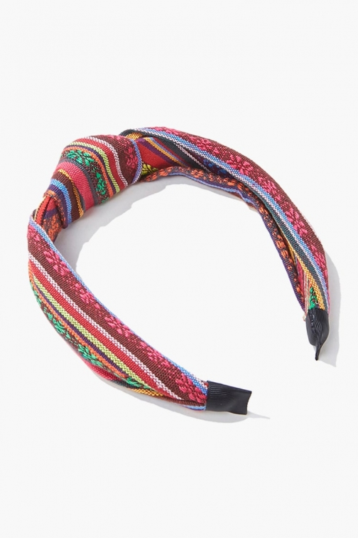 Forever21 Forever 21 Striped Knotted Headband , Red/multi Headwear