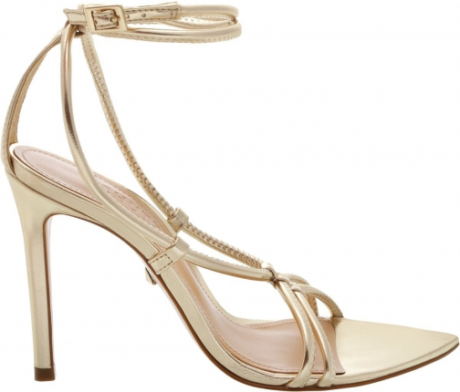 Schutz Shoes Evellyn Sandal - 5 Platina Gold Leather Sandals