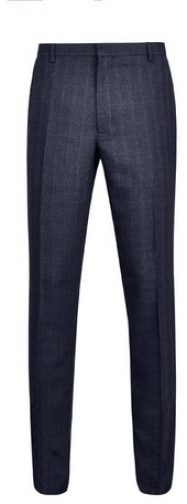 Dorothy Perkins Womens **Burton Navy Stretch Skinny Fit Checked Trousers- Blue, Blue Trouser