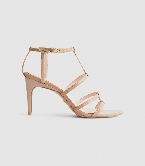 Reiss Harlow - T-bar Strappy Taupe, Womens, Size 4 Sandals
