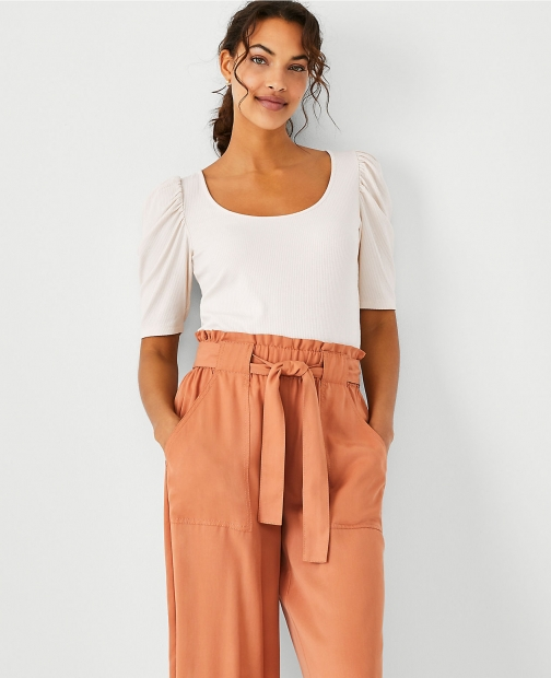 Ann Taylor Ribbed Scoop Neck Top Shirt