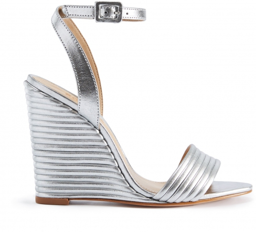 Schutz Shoes Kahritah - 6.5 Prata Silver Metallic Leather Wedge Sandal