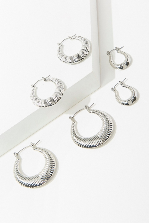 Forever21 Forever 21 Etched Hoop Earring Set , Silver Jewellery