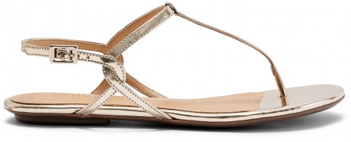 Schutz Shoes Anaielle Sandal - 6 Platina Gold Specchio Leather Sandals