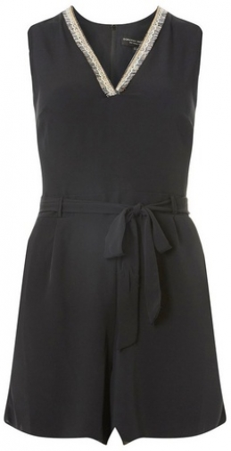 Dorothy Perkins Womens Black Embellished Neck - Black, Black Playsuit