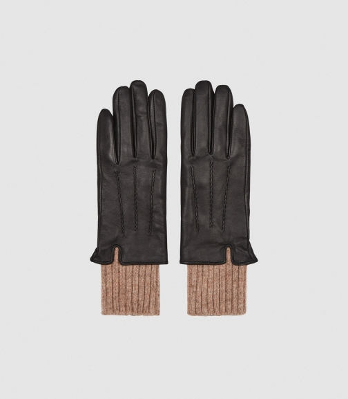 Reiss Yolyn - Leather Black, Womens, Size M Glove