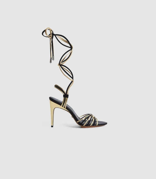 Reiss Cassidy - Strappy High Gold, Womens, Size 3 Heeled Sandals