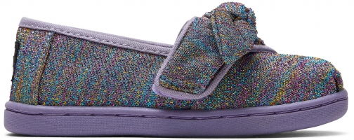 Toms Drizzle Grey Multi Glimmer Woven Bow Tiny TOMS Classics Slip-On Shoes