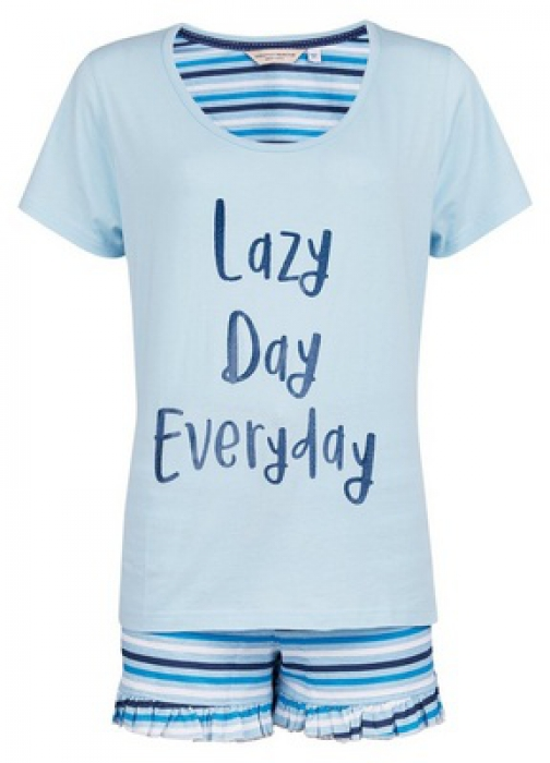 Dorothy Perkins Blue 'Lazy Day Everyday' Slogan Pyjama