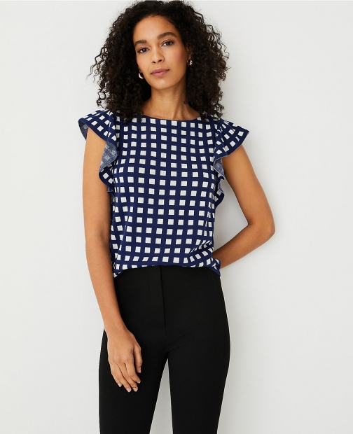 Ann Taylor Gingham Ruffle Sleeve Sweater Shell Top