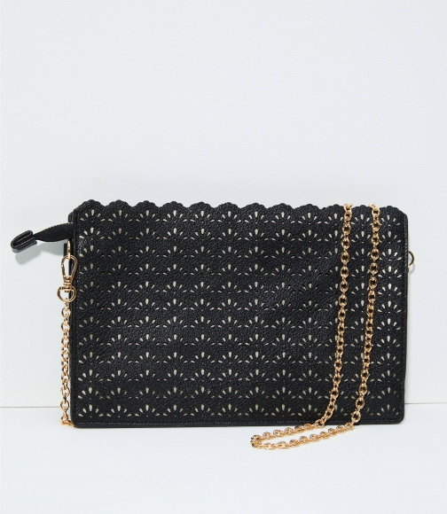 Loft Perforated Scalloped Clutch