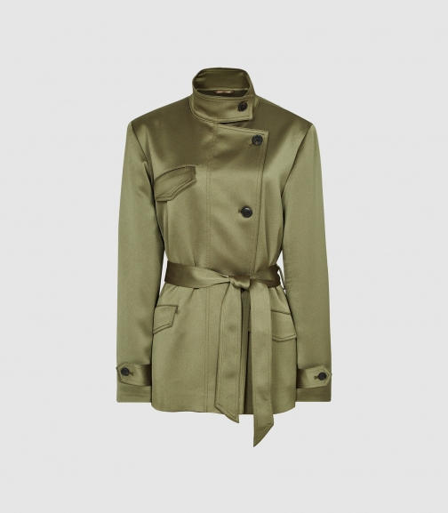 Reiss India - Satin Khaki, Womens, Size 10 Jacket
