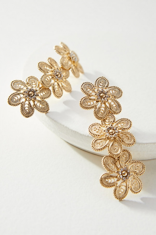 Anthropologie Fall Filigree Double Drop - Gold Earring