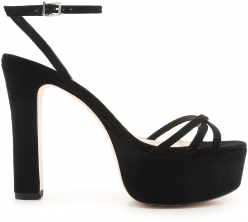 Schutz Shoes Cherry Platform Sandal - 5 Black Suede Sandals