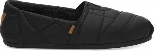 Toms Black Quilted Nylon Men's Classics Slip-On Shoes