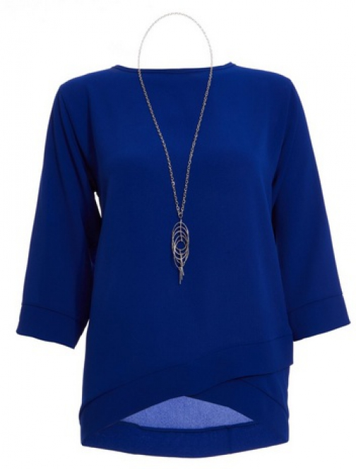 Quiz Blue Crossover Top Necklace